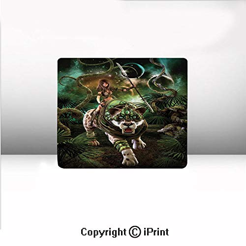 Custom Mouse pad,Graphics of Fantasy Scene with Girl and Saber Tooth Tiger Magical Plants Galaxy,8.2