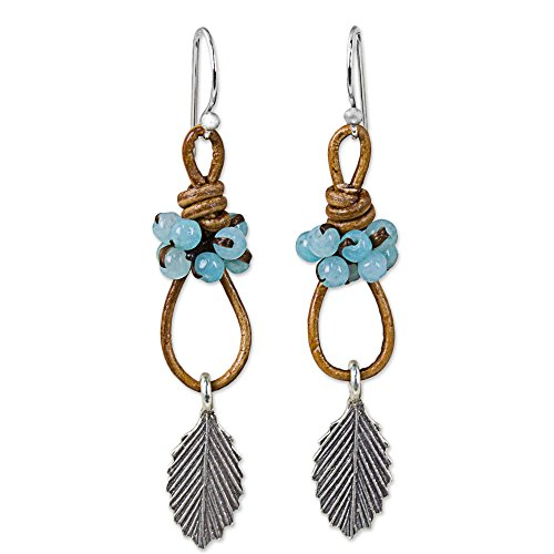 NOVICA Blue Quartz .925 Sterling Silver Leather Dangle Earrings 'Wind Breeze in Blue'