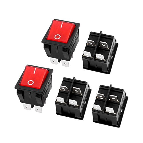 - uxcell Red Illuminated Light On/Off DPST Boat Rocker Switch 22A/250V 20A/125V AC 5pcs