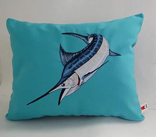 Blue Marlin Pillow - alerie Sassoon Blue Marlin Pillowcase Cover Sunbrella 14 x 18 Indoor Outdoor Game Fish Boat Pillowcase Nautical Ocean sea Beach Cottage Decor Canvas