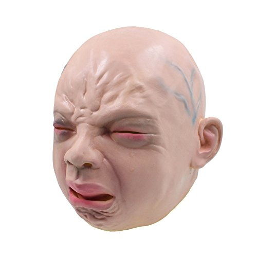 [Halloween Cry Baby Novelty Costume Party Latex Head Mask] (Baby Head Mask)