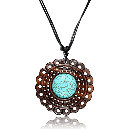 Earth Accessories Adjustable Carved Pendant Necklace with Organic Wood and Synthetic Turquoise Stone Inlay