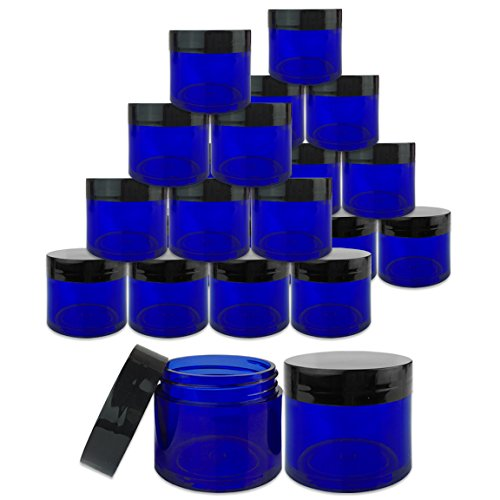 Beauticom 24 Pieces 30G/30ML(1 Oz) Thick Wall Round COBALT BLUE Plastic Container Jars with Black Flat Top Lids - Leak-Proof Jar - BPA Free (Blue Jars Cosmetic Plastic)