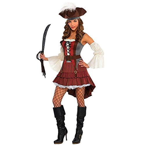 amscan Castaway Pirate Halloween Costume for Women, Medium, Black with Included Accessories ()