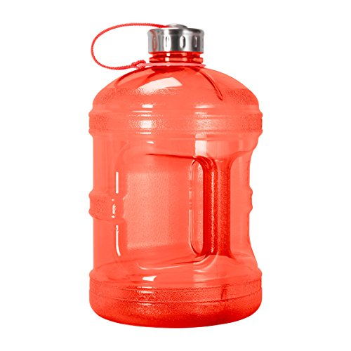 1 Gallon BPA FREE Reusable Plastic Drinking Water Bottle w/ Stainless Steel Cap (Red)