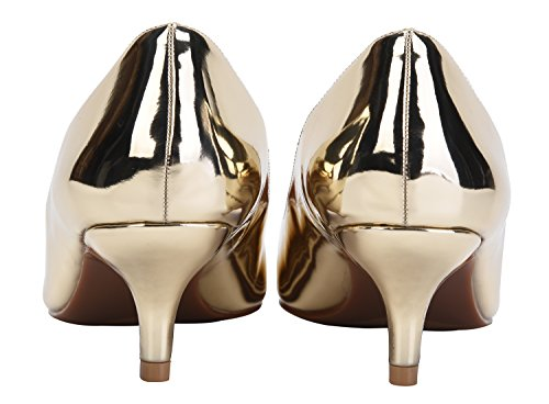 Slip Gold Pumps Toe Kitten Women's Heels On Pu Shoes CAMSSOO for Wedding Party Pointy nqfIt7