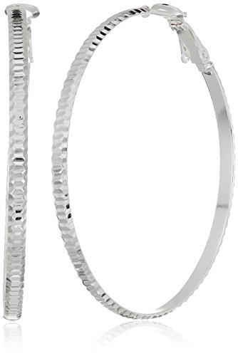 Sterling Silver 50 X 3 Mm Large Diamond Cut Ribbed Paddle Back Hoop Earrings