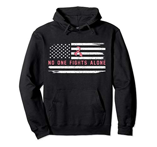 AMERICAN FLAG Breast Cancer Awareness Hoodie for MEN