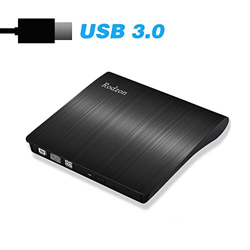 Rodzon USB 3.0 External CD Drive, Portable CD/DVD +/-RW Drive Slim DVD CD ROM Drive/Writer/Rewriter/USB CD Burner, High Speed for Laptop Desktop PC Windows 7/8.1/10 and Linux OS