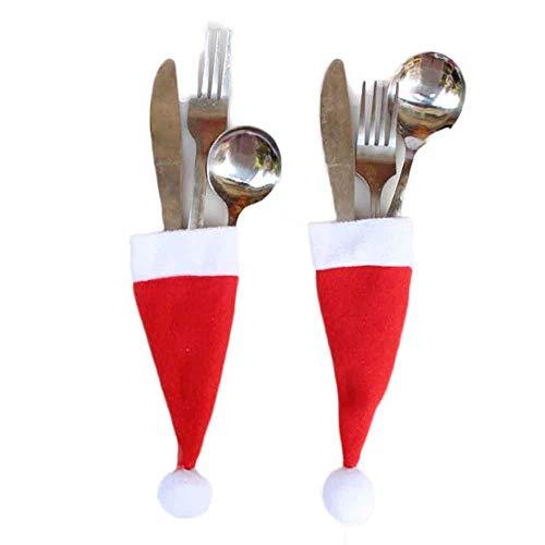 Yaida5PC Christmas Decorative Tableware Knife Fork Set Christmas Hat Storage Tool