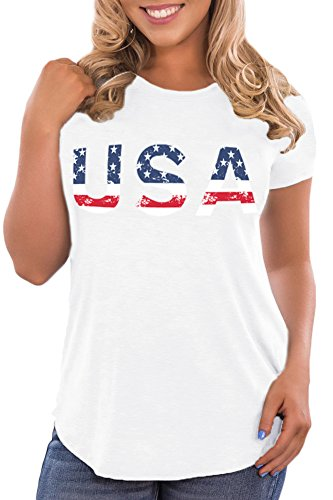 Spadehill Women's July 4th USA Flag USA Letter Print Patriotic Tee Shirts Cotton Casual Short Sleeve Tunic Tops White L