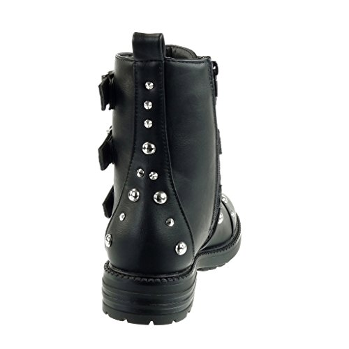 Angkorly - Women's Fashion Shoes Ankle boots - Booty - combat boots - biker - cavalier - studded - pearl - multi straps Block high heel 3.5 CM Black zIKQKu