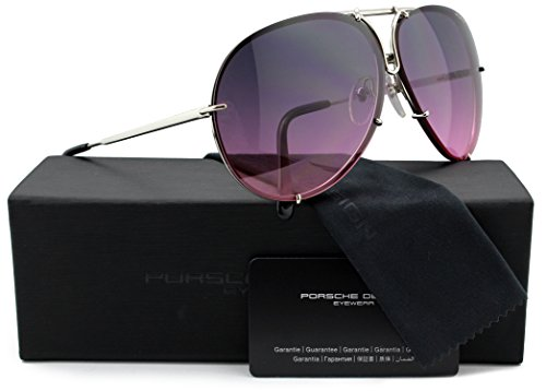Porsche Design P8478 M Aviator Sunglasses Silver w/Pink Gradient & Silver Mirror (V756) 8478 66mm - Sunglasses Porsche 8478