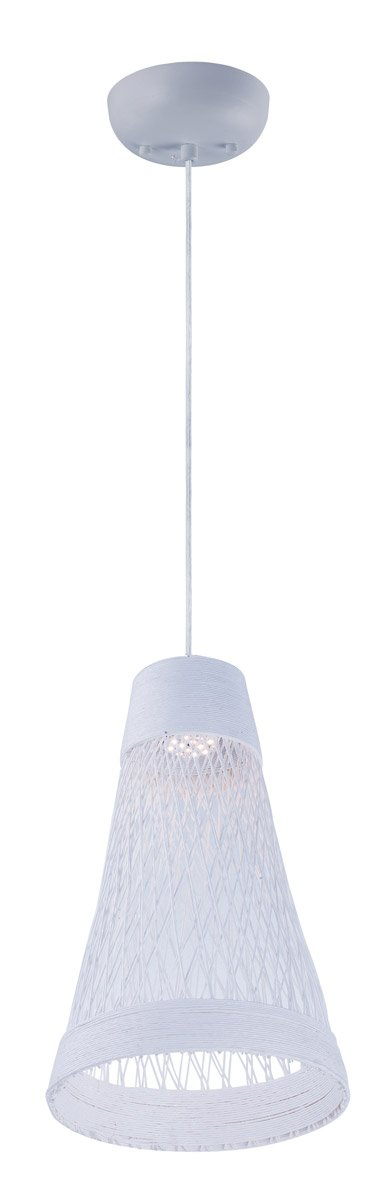 Maxim 54370WT Bahama 1-Light Pendant, White Finish, Glass, PCB LED Bulb , 75W Max., Wet Safety Rating, Standard Dimmable, Shade Material, 4350 Rated Lumens