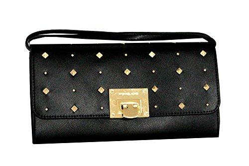 MICHAEL Michael Kors Women's TINA Leather Shoulder Handbag CLUTCH (BLACK) by MICHAEL Michael Kors