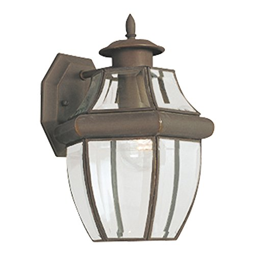 Sea Gull Lighting 8038-71 Lancaster One-Light Outdoor Wall Lantern with Clear Curved Beveled Glass Panels, Antique Bronze ()