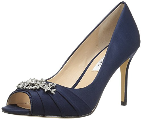 Nina Women's Rumina Dress Pump, Ls-New Navy, 6.5 M US (Blue Peep Toe Shoes)