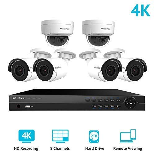 LaView 8 Channel Ultra HD 4K Home Security Camera System with 4 x 8MP IP Bullet and 2 x 8MP Dome Cameras, 100ft Night Vision, Weatherproof Expandable Surveillance Camera System NVR 2TB HDD
