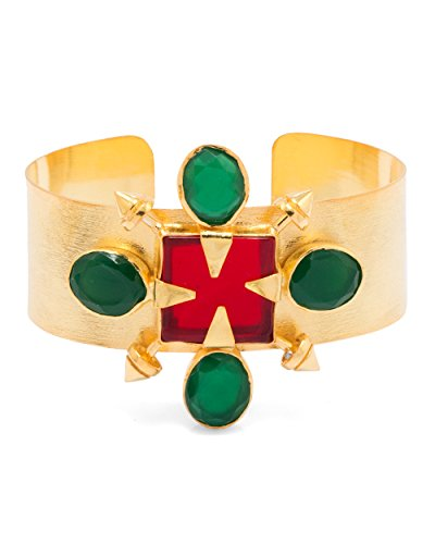 Voylla Red & Green Stones Decked Gold Toned Cuff Bracelet For Women by Voylla