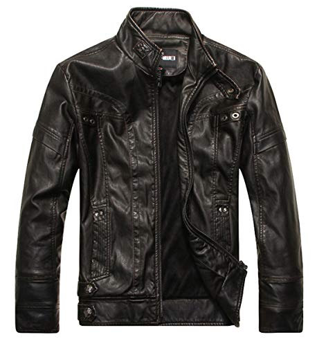 WULFUL Men's Vintage Stand Collar Leather Jacket Motorcycle PU Jacket and ()