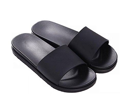 Nanxson(TM) Unisex Solid Color Bathroom Anti Skid Slippers TX0012 (11, black) (Kids Hobbit Feet)