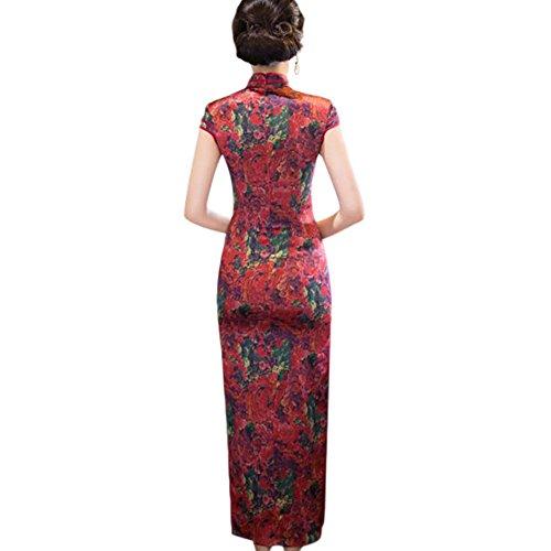Hzjundasi Seda Cheongsam Lino de Impreso Mujer Qipao 03 Elegante Vestido Slim Largo Floral Noche Robe Chino 4rqTS4WBwU