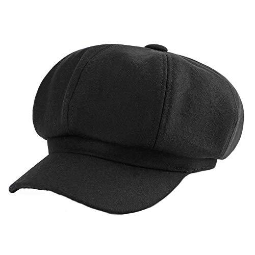 Apple Cap Newsboy Hat - DJB Women's Lightweight Soft Fit Fall Winter Beret Hats Newsboy Gatsby Apple Cabbie Cap Hat (Black, One Size)
