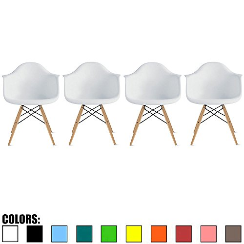 - 2xhome - Set of 4, White Dining Arm Chair Set, Solid Wood Nature Brown Legs, with Arm Chair Molded Plastic Shell with Eiffel Dowel-Legs (White)
