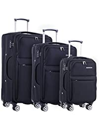 Updated 3 Piece Luggage Sets for Women Men Softside 360 Degrees Spinner Travel Suitcases with Wheels Rolling Suit Case Carry-On 20 inch 24 inch 28 inch Black Color