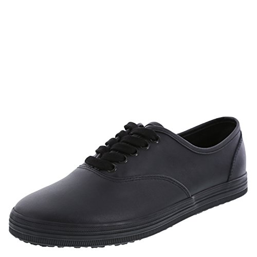 safeTstep Slip Resistant Women's Black Leather Women's Kandice Leather Oxford 7.5 Wide by safeTstep