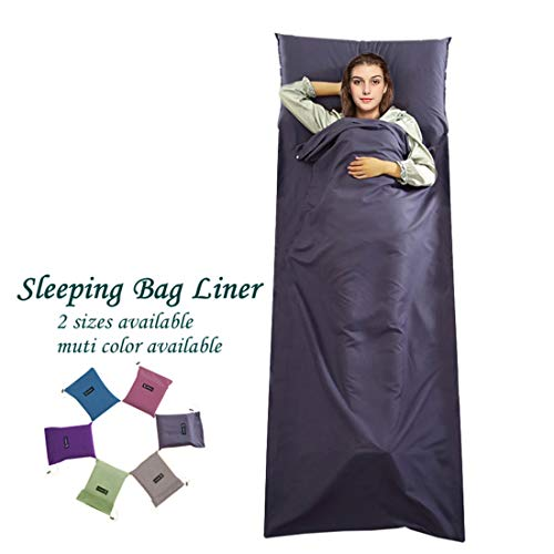 Cotton Sleeping Bag Liner Travel and Camping Sheet Lightweight Warm Roomy Compact Sleep Bag And Sack with Pillow Cover Soft for Hotel, Youth Hostels, Picnic,Hiking,Climbing 82.7 X 45 Inch,Dark Blue