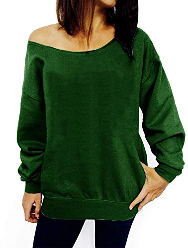 Oversize Tag - LYXIOF Womens Off Shoulder Sweatshirt Slouchy Shirts Wifey Sweatshirts Sexy Sweaters Long Sleeve Pullover Tops Green L