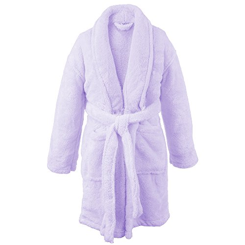 BC BARE COTTON Kids Microfiber Fleece Shawl Robe - Girls - Lavender - XLarge
