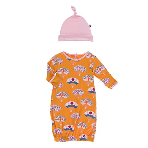 Kickee Pants Little Girls Print Layette Gown & Single Knot Hat Set - Apricot Fans, 0-3 ()
