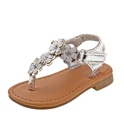 Laura Ashley Girls Multi Flower Thong Sandal, Silver, 5 M US Toddler' (Flower Shoes Thong Sandal)