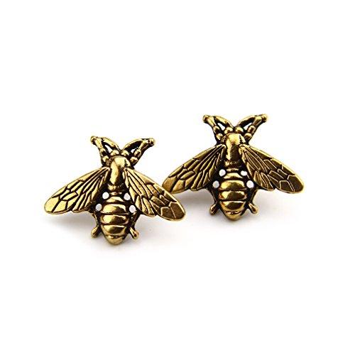 Gold Bee Pin - ZUNON Bees Tie Pin Golden Gold Original Design Male Metal Shirt Brooch Novelty Wedding Favour Suit and Vest Pin (Golden)