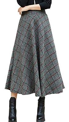 chouyatou Women's Grey Elastic Waist Wool Blend A-Line Pull-On Long Maxi Plaid Skirt