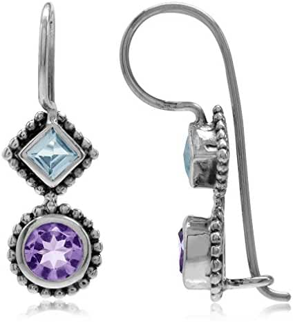 Natural Amethyst & Blue Topaz Antique Finish 925 Sterling Silver Balinese Hook Earrings