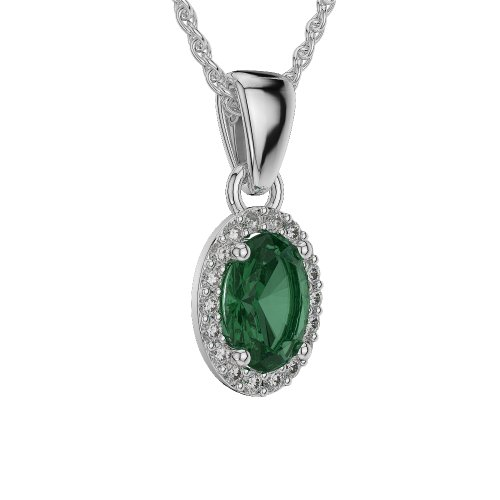 Or blanc 18carats 1,50CT G-H/VS sertie de diamants Forme ovale Émeraude et colliers Agdnc-1070