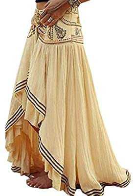 KLJR-Women High Waist Asymmetrical Hem Pleated Boho Beach Chiffon Skirt