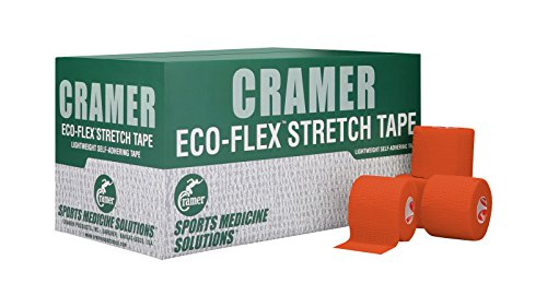 Cramer Eco-Flex Self-Stick Stretch Tape, Cohesive Tape, Flexible Elastic Sports Tape, Athletic Training Supplies, Easy Tear Self-Adherent Bandage Wrap, Bulk Cases, 6 Yard Rolls, Compression Tape