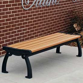 Heritage Backless Bench, Recycled Plastic, 6 ft, Black & Cedar