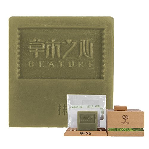 Natural Matcha Handmade Soap, Face Pore Cleaning Moisturizing Anti-Acne Anti Blackhead Cleansers Soaps, Free Bonus Wooden Soap Dish, Foaming Net, Smal…