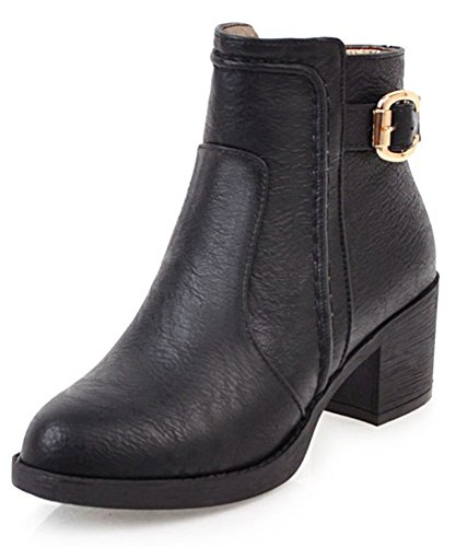 Aisun Womens Almond Toe Inside Zip Up Buckle Strap Dress Mid Chunky Heel Ankle Boots Black gp9spcox
