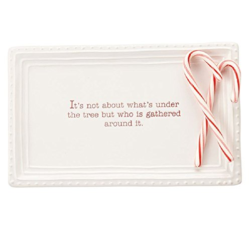 Mud Pie 40700002 Christmas Holiday Under the Tree Treat Tray Serving Platter, One Size, White