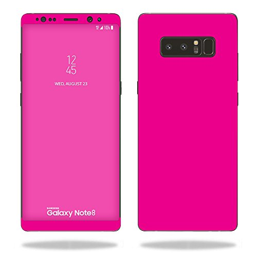 MightySkins Skin Compatible with Samsung Galaxy Note 8 - Solid Hot Pink   Protective, Durable, and Unique Vinyl Decal wrap Cover   Easy to Apply, Remove, and Change Styles   Made in The USA