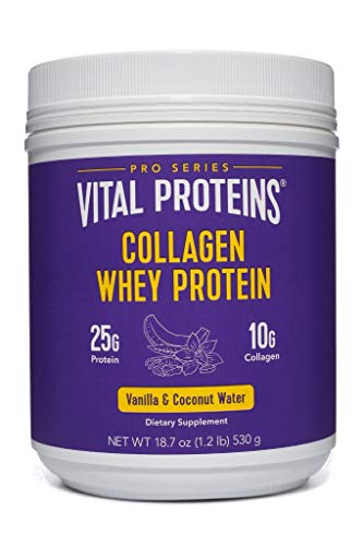 Vital Proteins Pasture-Raised, Grass-Fed Collagen Whey, Advanced Protein Utilization Formula (Vanilla Coconut), 20 oz Canister