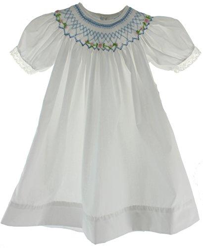 White Smocked Bishop Dress - Girls Smocked Bishop Dress White & Blue Baby Boutique Clothes 9M