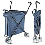 Freshore® Grocery Shopping Cart with Wheels - Collapsible Push Folding Utility Wagon Trolley 丨 Laundry Trolley Carrier with Heavy Duty Flexible Fashion Design (Navy Blue)