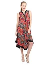 Village Venture Vestido Estampado Multi-Color con Detalle de Botones Primavera/Verano-(Rojo,Unitalla) Mod 2613